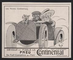 Pub 1912 Voitures Automobiles Pneu Continental Les Péchés Capitaux Dessin Illustrateur Mich - Pubblicitari