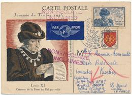 Carte Maximum - Louis XI - Journée Du Timbre, Angers 1945 - Cartes-Maximum