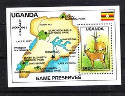 Uganda  - 1988. Orici Su Carta Geografica Dell' Uganda. Oryx On The Map Of Uganda.Very Fine. MNH - Gibier