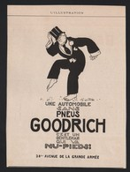 Pub Papier 1913 Pneu Automobiles Safety GOODRICH Colombes Seine - Advertising