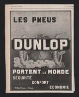 Pub Papier 1911 Pneu Automobiles Accessoire Voiture DUNLOP - Advertising