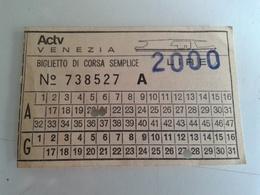 Alt1059 Biglietto Billet Ticket Vintage Old Venezia Venice Corsa Semplice Vaporetto Battello ACTV Anni 80 - Europa