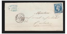 """FRANCE--TARN--LETTRE DE VABRE POUR TOULOUSE --LOSANGE PETITS CHIFFRES """"3456"""" - Marcophilie (Lettres)"""