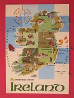 Irlande - Connacht - Ulster - Munster - Leinster - Carte Du Pays - Joli Timbre - Scans Recto-verso - Irlande