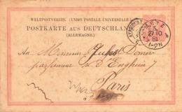 ALLEMAGNE ENTIER DU 27 OCTOBRE 1881 DE AVRICOURT POUR PARIS - Alemania