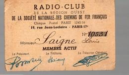 Paris Rue Jean Leclaire Carte De Membre Du RADIO CLUB  De La SNCF  1952-53 (PPP14728) - Old Paper