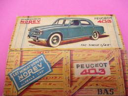 NOREV/ Boite Carton Ancienne Vide ( Manque Abattants De Côtés)/ 403 Peugeot /1-43éme/Miniature/1955-60   VOIT42 - Altri