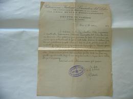 DOCUMENTO FEDERAZIONE ITALIANA LAVORATORI DEL LIBRO GRUPPO VARESE 1922 - Timbri Generalità