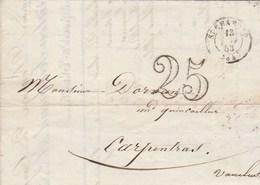 Lettre Entête Ferraton Journoud Ex Neyrand ST CHAMOND Loire 13/1/1853 Taxe Double Trait Pour Carpentras Vaucluse - Postmark Collection (Covers)