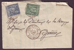HAUTE SAVOIE - LAC - Tàd T84 BONNEVILLE (1887) Sur N° 75 + N° 90 (port Frontalier) Pour Genève (Suisse) - Postmark Collection (Covers)