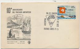 Enveloppe 1 Er Jour 10 Anniversaire Du Traité Antartique  Buenos Aires 1972 - TAAF : Terres Australes Antarctiques Françaises