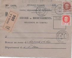 1494 Service Des Recouvrements TAD Perlé 15/5/42 Timbres Pétain 3F Et 1,50F - Collections