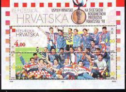 Croatia 1998 Y Sport Football Bronze Medal Mi No Block 15 MNH - Croatie