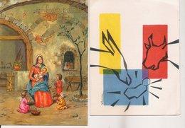 L32b053 - Heureux Noël - Lot De Deux Cartes La Nativité  Et Anges - Christmas