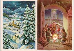 L32b056 - Joyeux Noël - Lot De Deux Cartes Nativité Et Paysage De Neige - Autres