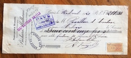 CAMBIALE WECHSEL PARIS 1920 PARFUMERIE BICHARA MALHAME'  CON MARCHE DA BOLLO  TIMBRI FIRME - Cambiali