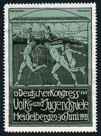 CINDERELLA : DEUTSCHER KONGRESS - VOLKS UND JUGENDSNIELE - HEIDELBERG 1912 - Cinderellas