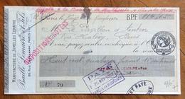 CAMBIALE WECHSEL PARIS   1920  MANUFACTURE DE JUMELLES LEMAIRE   CON  MARCHE DA BOLLO  TIMBRI FIRME - Cambiali