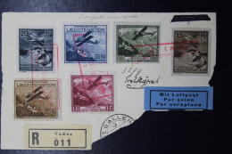 Liechtenstein: Airmail 1930 Mi 108 - 113 On Fragment Of Registered Letter Vaduz - Liechtenstein