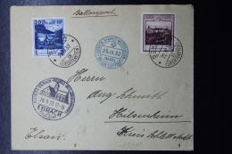 Liechtenstein: Ballonpost  1932 GORDON BENNETT  Basel -> Ebrach   Mi 99 + 104  Mi Fl Nr 42 - Liechtenstein