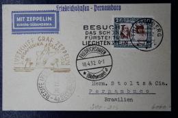 Liechtenstein: Graf Zeppelin Sieger 239 3e Sud Amerika Fahrt  Mi 107   1932 - Briefe U. Dokumente