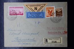 Liechtenstein: Luftpost Einschreibenbrief Mit Nachname   Mi 149 + 144 + 131   1936 - Liechtenstein