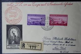 Liechtenstein: Graf Zepplein  Sieger 317   Mi 149 + 150  1936  Triesenberg -> New York Einschreiben - Briefe U. Dokumente