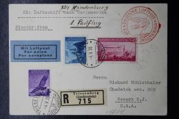 Liechtenstein: Graf Zeppelin Sieger 129 Mi 143 + 146 + 149  1936 Einschreiben Karte Triesenberg -> Newark USA - Briefe U. Dokumente