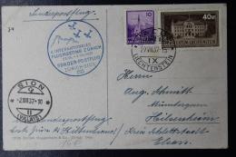 Liechtenstein 4. Internationales Flugmeeting Vaduz - Zürich - Sion 1937  Mi 128 + 134 - Briefe U. Dokumente