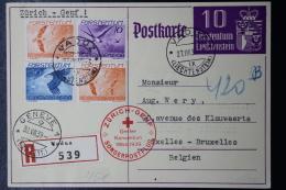 Liechtenstein Einschreiben Postkarte Sonderpostflug Vaduz - Zürich - Genf  1939  Mi 173 + 174 + 176 - Liechtenstein