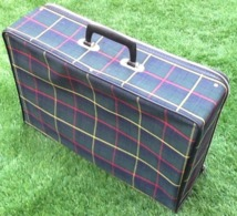 Ancienne Valise De Voyage Vintage  Tissu Motif Ecossais  Années 60 - Boxes