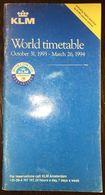 KLM Timetable October 31, 1993 - March 26, 1994 - Monde
