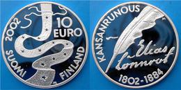 FINLAND 10 E 2002 ARGENTO PROOF SILVER EURO KANSANRUNOUS 1802-1884 SUOMI PESO 25,5 TITOLO 0,925 CONSERVAZIONE FONDO SPEC - Finland