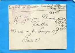 Marcophilie-guerre 14-18 -lettre Service Santé-cad Mai 1918-cachet-assistance Aux Bléssés-école De Réeducation PARIS - Marcophilie (Lettres)