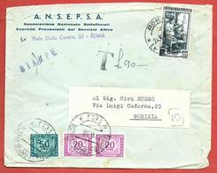 LETTERA VG ITALIA - ORDINARIA - ANSEPSA - 12 X 16 - ANN. 1953 ROMA - GORIZIA - TASSATA £ 90 - 6. 1946-.. Repubblica