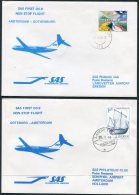 1983 Netherlands Sweden SAS First Flight Covers (2) Amsterdam / Gothenburg - Airmail