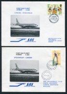 1981 GB Sweden SAS First Flight Covers (2) London / Stockholm - 1952-.... (Elizabeth II)