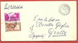 LETTERA VG ITALIA - ESPRESSO - Italia Al Lavoro - 9 X 18 - ANN. 1952 CINQUEFRONDI - MESSINA - GROTTE - 6. 1946-.. Repubblica