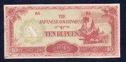 Banconota Giappone - Occupazione Birmania 10 Rupees - Japan