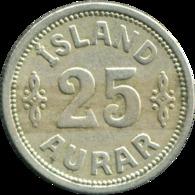 Iceland Under Denmark 1923 25 Øre VF+ Details Island - Iceland