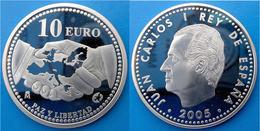 SPAIN 10 E 2005 ARGENTO PROOF SILVER EURO ESPANA PAZ Y LIBERTAD PESO 27g TITOLO 0,925 CONSERVAZIONE FONDO SPECCHIO UNC - Spagna