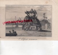 GRAVURE ANCIENNE O ELEFANTE DOMESTICADO -ELEPHANT - INDE INDIA HINDOU - XIX E SIECLE - Estampes & Gravures
