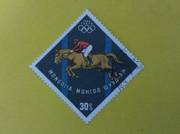 1964 MONGOLIA FRANCOBOLLO USATO STAMP USED SPORT EQUITAZIONE OLIMPIADI TOKYO 30 - Mongolia