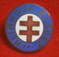 WWII, Slovakia,  Hlinkova Mladež - Enamel Badge, Pin, Brooch - Associations
