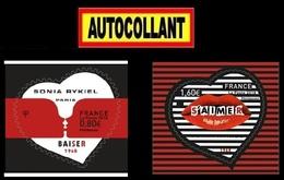 "2 TIMBRES AUTOCOLLANTS  "" COEUR SONIA RYKIEL  "" ADHÉSIFS 2018.  TTB - KlebeBriefmarken"