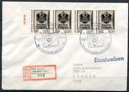"""DDR 1990 Extrem Seltenes Reco/Einschreib Label Auf Reco Brief Mit Mi.Nr.3304 Und SST""""5010 Erfurt-500 Jahre Post""""1 Beleg - Post"""