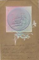 FEMME AVEC LIRE ET FLEURES GAUFREE DOREE TOURNESOL. RARE CORRESPONDANCE ARISTOCRATIE ARGENTINE CIRCA 1900's- BLEUP - Bloemen