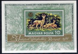 HUNGARY 1971 Hunting Exhibition Block MNH / **.  Michel Block 82 - Blocks & Sheetlets