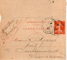 TB 2345 - Entier Postal - MAUPOIX - MP PARIS 1907 Pour COULOMMIERS - Postal Stamped Stationery