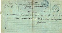 TB 2347 - Télégramme - JOUY SUR MORIN  MP COULOMMIERS Cachet Bleu 1907 - Marcophilie (Lettres)